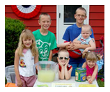 Group of children at lemonade stand