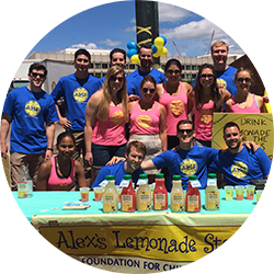 A group of coworkers at a lemonade stand