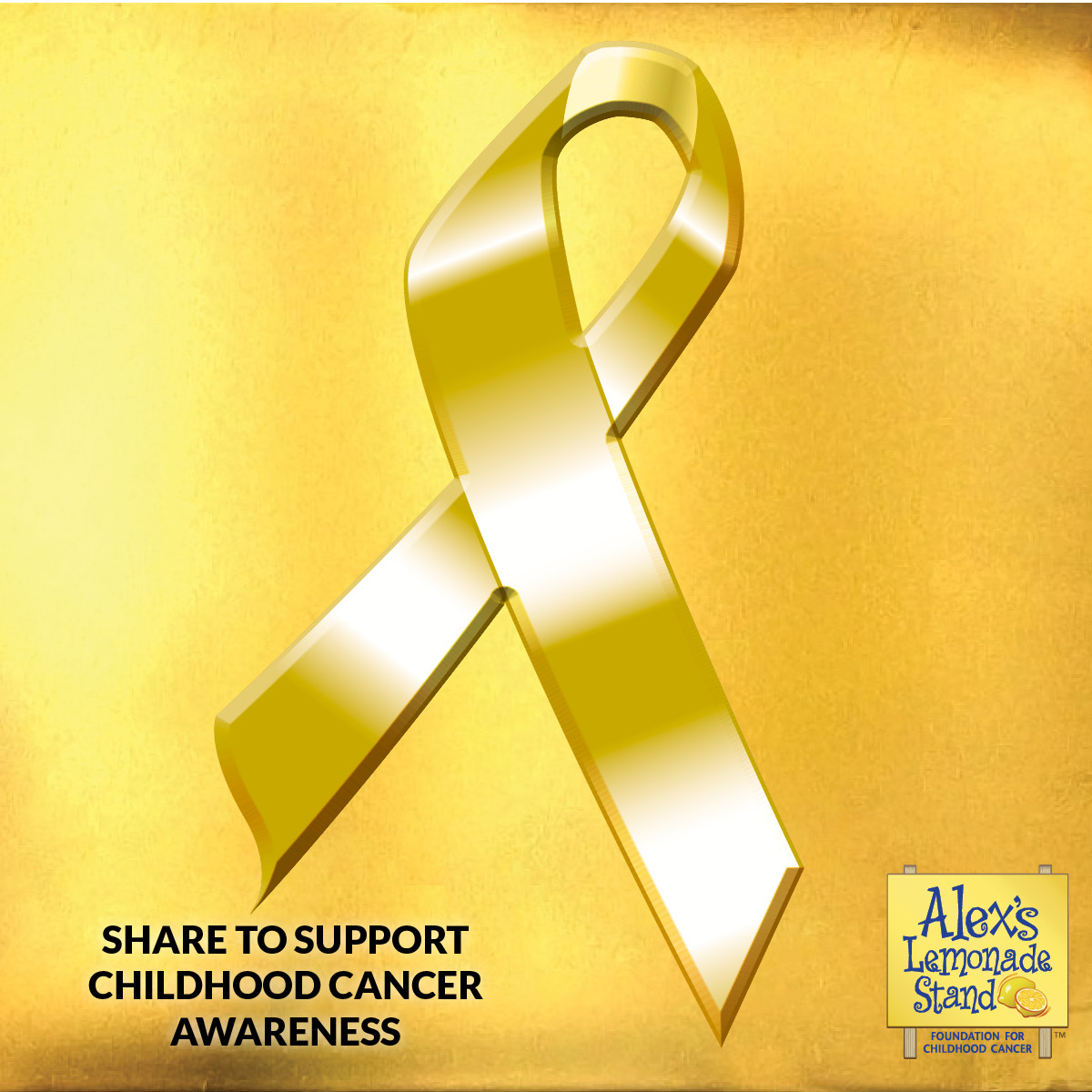 Share this gold ribbon for childhood cancer awareness month in September