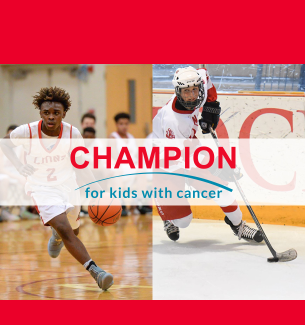 Basketball player and hockey player supporting ALSF Champion program