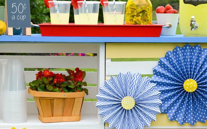 Wooden crates are a great material for building for a DIY Lemonade Stand.