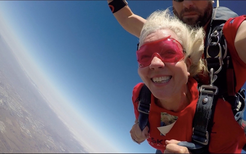 Rebecca Byrom (aka Grandma Bee) wanted to support f her grandson Alex, <link to webpage> who was diagnosed with osteosarcoma in 2016. Since Alex faced his scary situation so bravely, she wanted to do something that scared her: skydiving! Despite being over 70 years old, both she and her husband Tom leapt from a plane in San Diego last July. With over $28,000 raised, facing her fears certainly paid off for Grandma Bee as she made a huge impact for kids with cancer. Watch the video of the sky dive below.