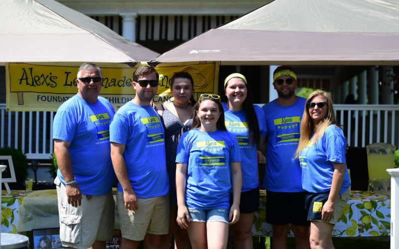 """Known as the Jersey Shore family who has """"the lemonade stand,"""" the Smith's first heard Alex's story while Bridget was being treated for neuroblastoma at Children's Hospital of Philadelphia."""