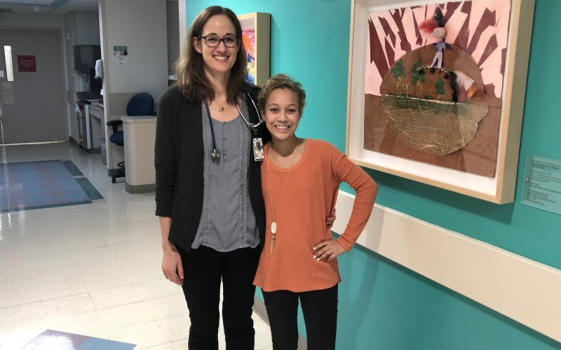 Dr. Jennifer Foster, a pediatric oncologist at Texas Children's Cancer Center, pictured above with 13-year-old Eden Green, who is battling a rare one-of-a-kind tumor. Dr. Foster is leading a clinical trial that focuses on the treatment of relapsed solid tumors.