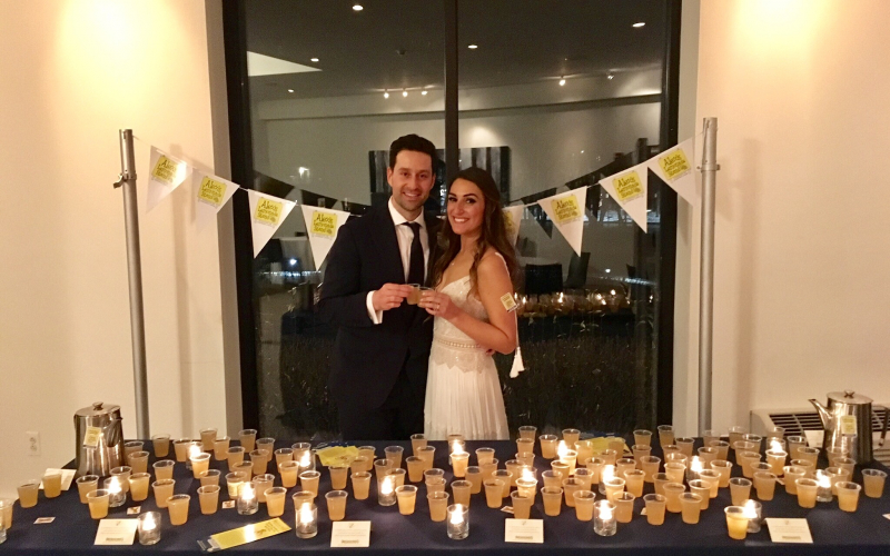 Danielle and Michael knew they wanted to give back at their wedding, so they followed in Alex Scott's footsteps and hosted a lemonade stand! The couple and guests made donations to ALSF and enjoyed ice cold lemonade.