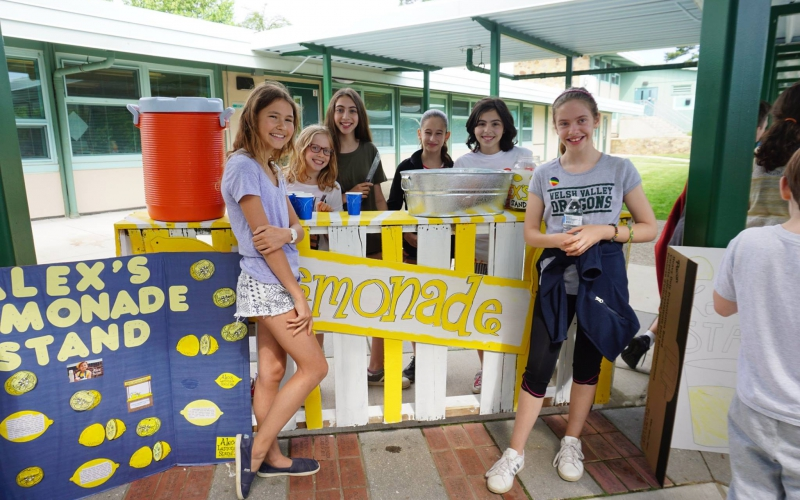 A little color goes a long way. Many stand hosts, including these students from Welsh Valley Middle School, painted over pallets to stand out.