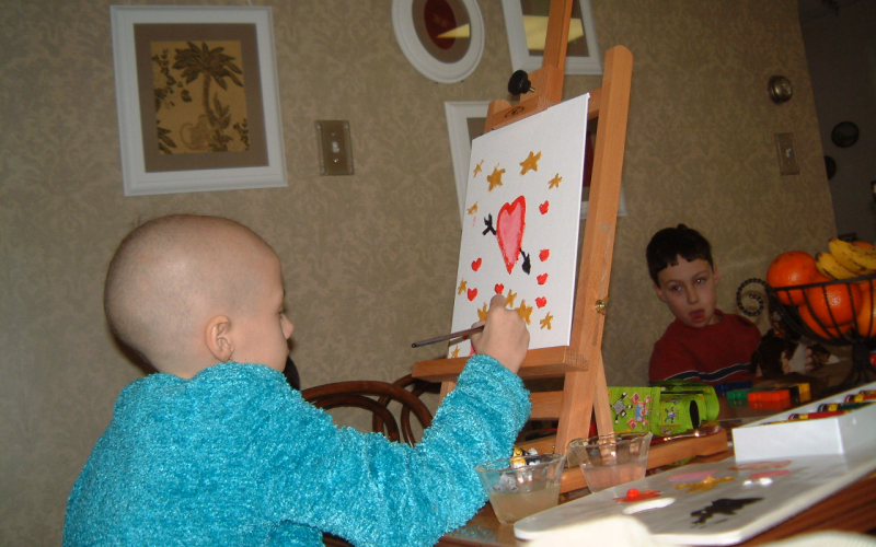 In 2004, Alex painted a picture of hearts and stars. Each year,supporters donate to ALSF for a chance to rent this painting.