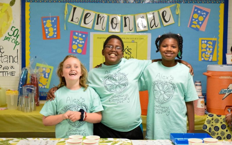 Southwest Elementary in Clemmons, North Carolina has been hosting lemonade stands since 2012. They have raised over $43,000.